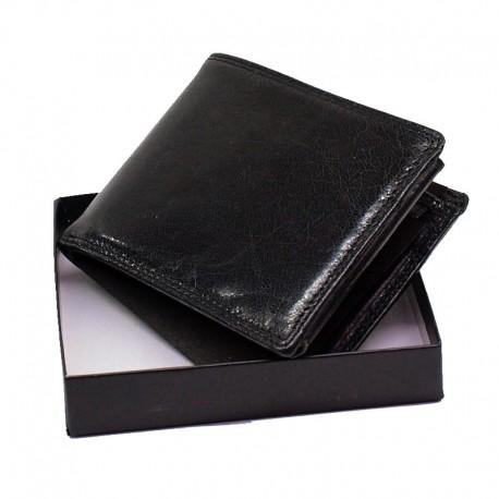 Pánská kožená peněženka - černá lesklá