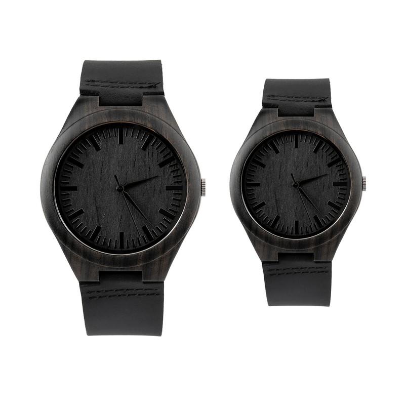 Dřevěné hodinky v černé barvě vyrobené z bambusového dřeva 101ffca174